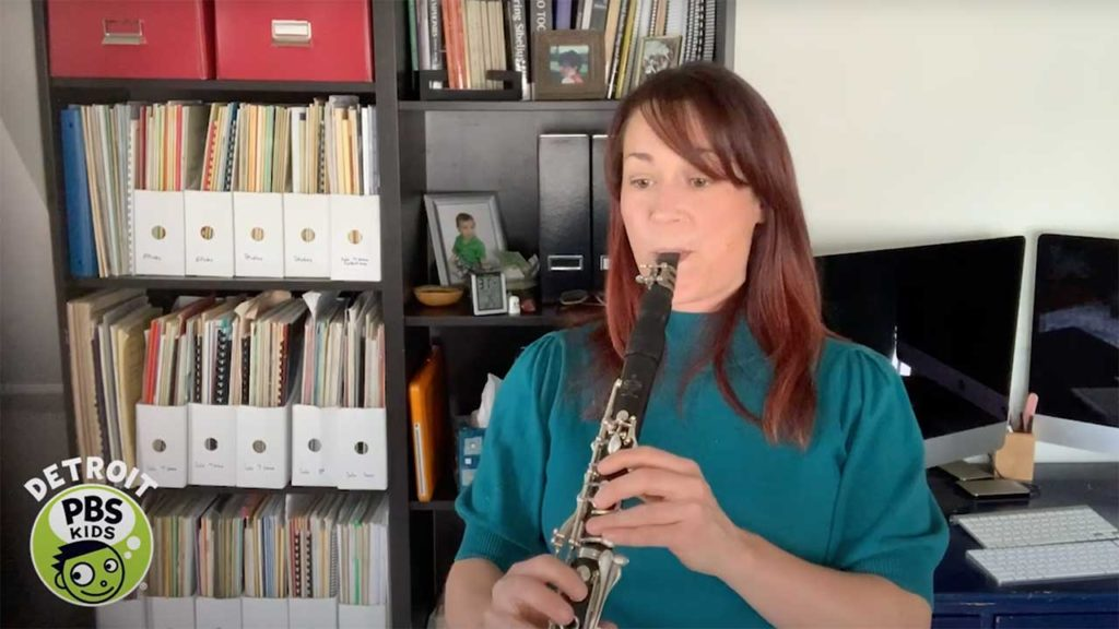 music with bass clarinetist