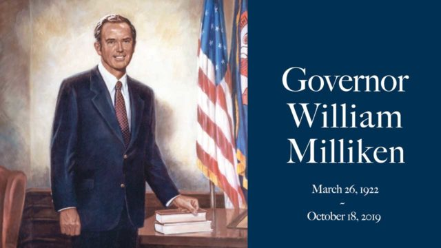 Governor William Milliken, painting, cover for memorial.